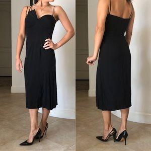 Dina Bar-el Silk Midi Gown w Pleated Details LBD